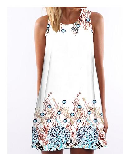 cheap Casual Dresses-Women's Shift Dress Sleeveless Animal Print Summer Holiday White S M L XL XXL