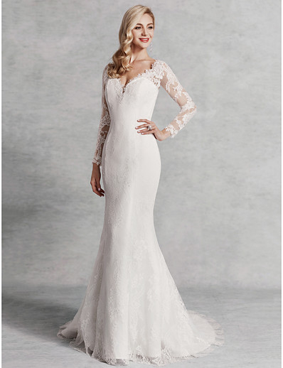 9cc613607b2a ADOR Mermaid / Trumpet V Neck Sweep / Brush Train Lace / Satin / Tulle  Wedding Dresses with Lace
