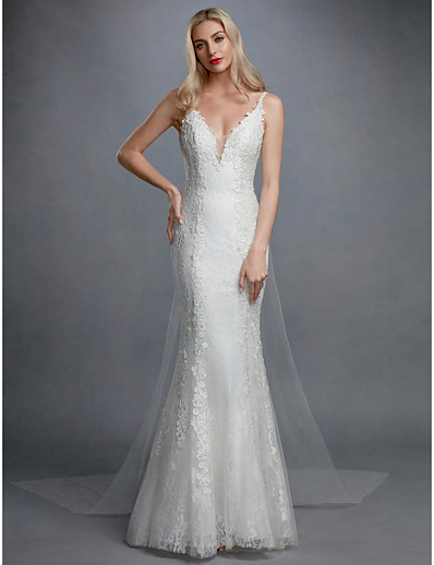 3b2e343ce19c ADOR Mermaid / Trumpet V Neck Sweep / Brush Train Lace / Tulle Wedding  Dresses with Appliques