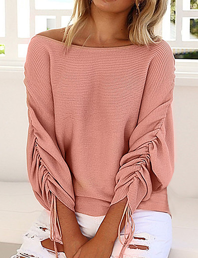 cheap TOPS-Women's Daily Vintage / Street chic Solid Colored Long Sleeve Batwing Sleeve Loose Regular Pullover Sweater Jumper, Off Shoulder Spring / Fall Wool Black / Wine / Blushing Pink S / M / L / Tassel