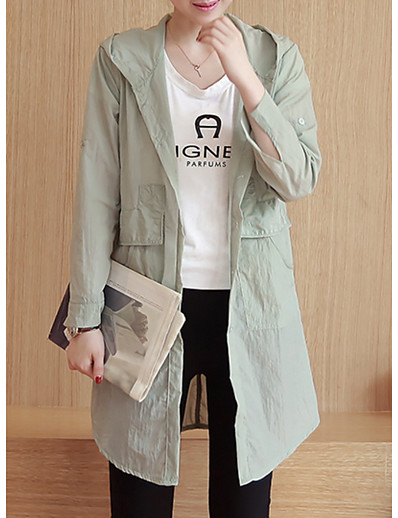cheap Trench Coats-Women's Daily Plus Size Long Trench Coat, Solid Colored Hooded Long Sleeve Polyester Black / Blushing Pink / Army Green