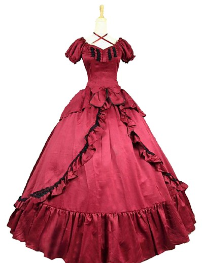cheap Historical & Vintage Costumes-Rococo Victorian Costume Women's Dress Red / black Vintage Cosplay Cotton Blend Short Sleeve Puff Sleeve