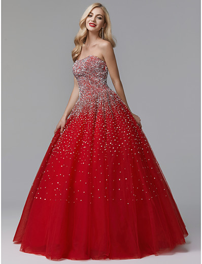d6ed65e87a1 ADOR Evening Dress Ball Gown Strapless Floor Length Satin   Tulle Sparkle    Shine with Crystals