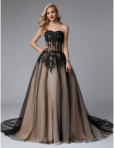 32b27ab87831 ADOR Evening Dress Ball Gown Sweetheart Neckline Court Train Lace / Tulle  Color Block with Appliques