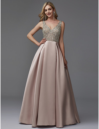 536215d12a9 ADOR Evening Dress A-Line V Neck Floor Length Satin   Sequined with Beading