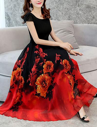 cheap Mother Dresses-Women's Floral Plus Size Casual Going out Long Loose Chiffon Swing Dress - Floral Print Green Red Purple XXXL XXXXL XXXXXL