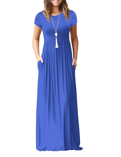 cheap Best Sellers-Women's Going out Maxi Swing Dress - Solid Colored High Waist Summer Wine Army Green Royal Blue L XL XXL