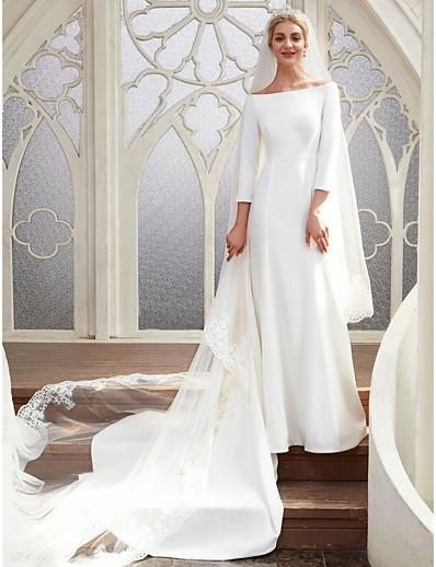 ae0aff4a8 ADOR A-Line Bateau Neck Chapel Train Satin Wedding Dresses