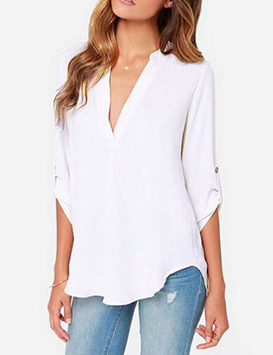 cheap TOPS-Women's Daily Blouse - Solid Colored Deep V Gray