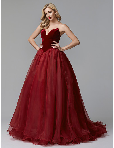 68e67100422 ADOR Evening Dress Ball Gown Strapless Sweep   Brush Train Tulle   Velvet  with Cascading Ruffles