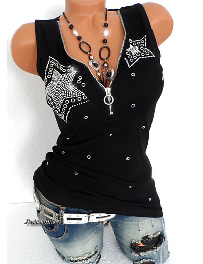 cheap Tank Tops-Women's Daily Sports Punk & Gothic Plus Size Slim T-shirt - Solid Colored Sequins Deep V Black / Summer