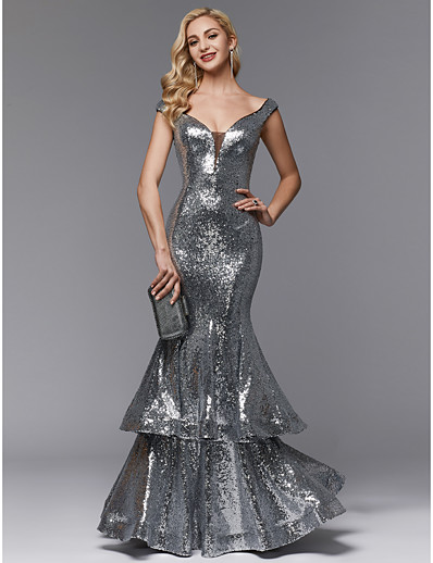 9d8cd9dab9354 ADOR Evening Dress Mermaid / Trumpet Off Shoulder Floor Length Sequined  Sparkle & Shine / Open Back with Ruffles