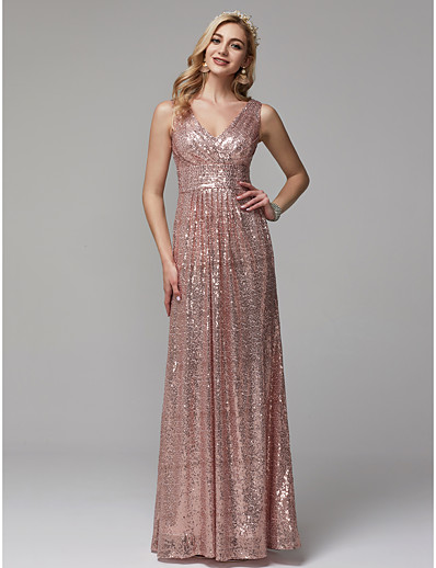 932dbd6cac911 ADOR Evening Dress Sheath / Column V Neck Floor Length Sequined Sparkle &  Shine with Sequin / Ruched