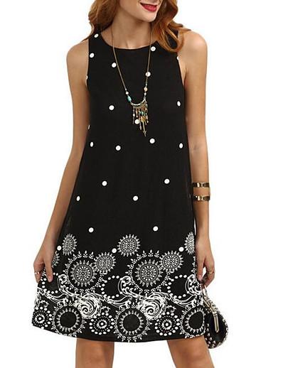 cheap Mother Dresses-Women's Going out Shift Dress - Graphic Print Summer Black Dark Blue Wine L XL XXL