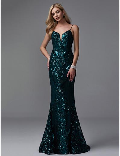 b2955daf3edba ADOR Evening Dress Mermaid / Trumpet Spaghetti Strap Sweep / Brush Train  Sequined Sparkle & Shine with Sequin