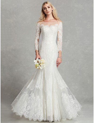 c8e1aaa091 ADOR Mermaid   Trumpet Scoop Neck Floor Length Lace   Tulle Wedding Dresses  with Beading   Appliques