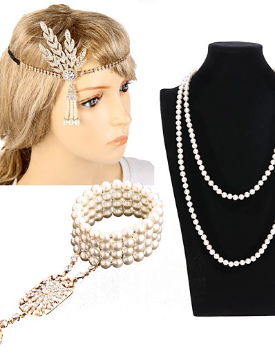 cheap Historical & Vintage Costumes-The Great Gatsby Charleston Vintage 1920s Roaring Twenties Costume Accessory Sets Flapper Headband Women's Classic Style Costume Head Jewelry Pearl Necklace Slave Bracelet Golden / Black & White