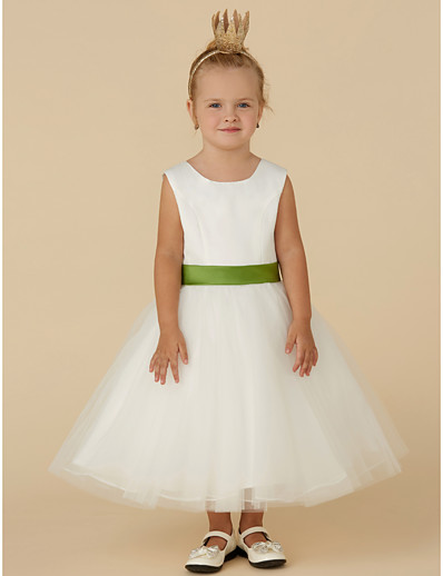 ea6a215163436 ADOR Princess Tea Length Flower Girl Dress - Satin / Tulle Sleeveless Jewel  Neck with Sash / Ribbon