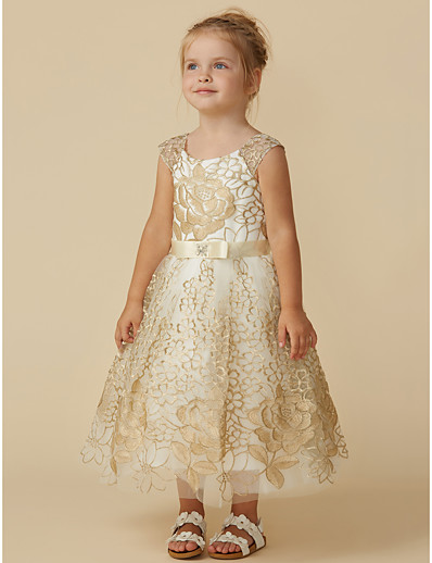 6966b4da016 ADOR Princess Knee Length Flower Girl Dress - Lace Sleeveless Jewel Neck  with Belt