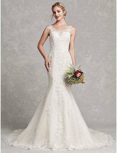 b0fdbc0d8e7 ADOR Sheath   Column V Neck Chapel Train Lace   Satin Wedding Dresses with  Beading   Appliques