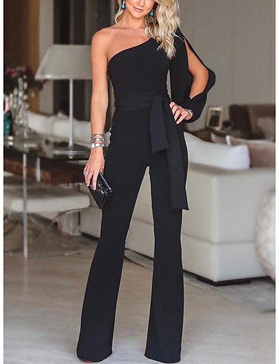 cheap Jumpsuits & Rompers-Women's Basic Party Going out One Shoulder White Black Red Slim Jumpsuit Solid Colored Drawstring