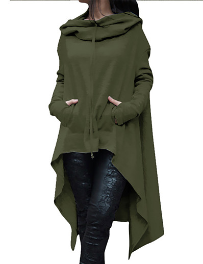 cheap OUTERWEAR-Women's Daily / Going out Basic / Street chic Fall / Winter Plus Size Long Trench Coat, Solid Colored Hooded Long Sleeve Polyester Gray / Yellow / Army Green
