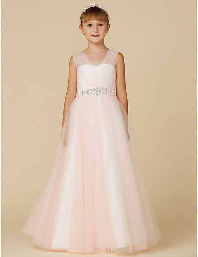bf1c12c4df5 ADOR Princess Floor Length Flower Girl Dress - Tulle Sleeveless V Neck with  Ruching   Crystals