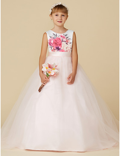 ce618e5072a ADOR Princess Sweep   Brush Train Flower Girl Dress - Satin   Tulle  Sleeveless Jewel Neck with Sash   Ribbon   Print