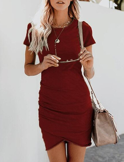 cheap Casual Dresses-Women's Going out Mini Sheath Dress Dusty Rose Gray Wine Light Blue L XL XXL