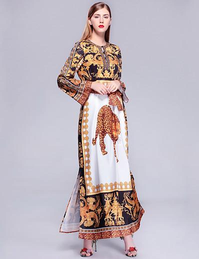 cheap Boho Dresses-Women's Going out / Beach Vintage / Street chic Maxi Loose Jalabiya Dress Print Spring Cotton Yellow XL XXL XXXL