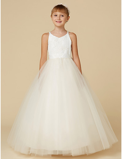 4b30fadb4c9 ADOR Princess Floor Length Flower Girl Dress - Lace   Tulle Sleeveless  Spaghetti Strap with Appliques   Bow(s)
