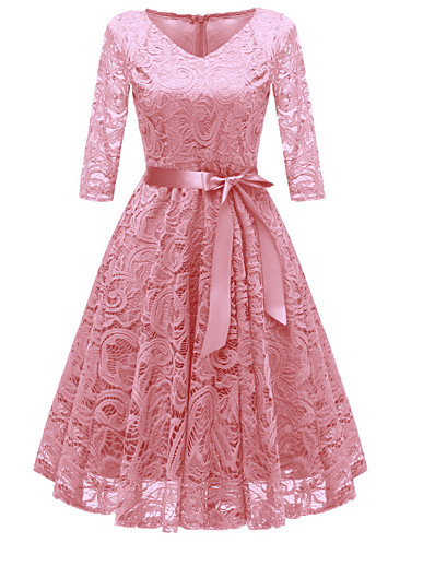 cheap Vintage Dresses-Women's Party Going out Vintage 1950s A Line Dress Dusty Rose, Lace Bow V Neck Fall Wine Blushing Pink Navy Blue S M L XL