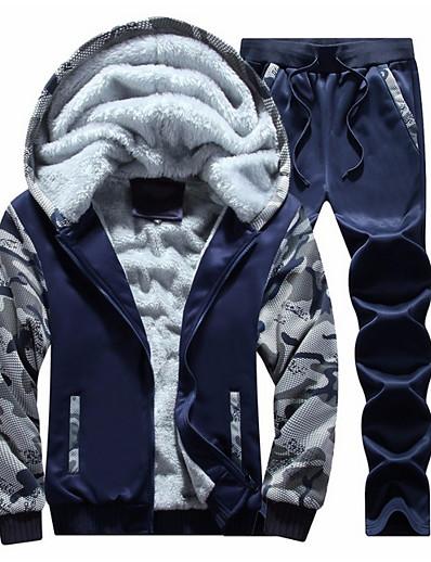 cheap Men's Outerwear-Men's Basic Long Sleeve Activewear Set - Camo / Camouflage Hooded Light gray M