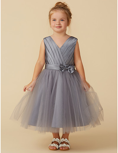 1d01a8f2ab ADOR Princess Tea Length Flower Girl Dress - Satin   Tulle Sleeveless V  Neck with Bow(s)   Sash   Ribbon   Pleats