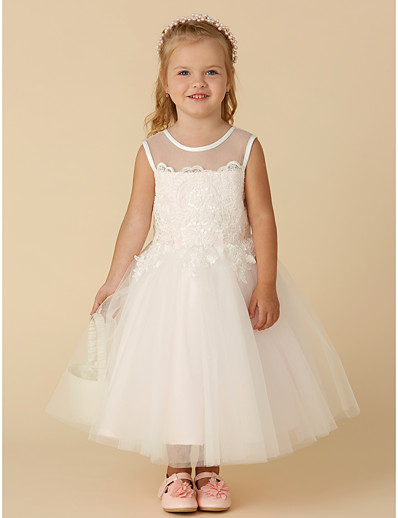 b297dbbb1cb ADOR Princess Tea Length Flower Girl Dress - Satin   Tulle Sleeveless Jewel  Neck with Appliques