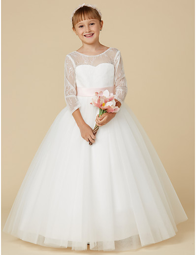 814f91b75ec ADOR Ball Gown Floor Length Flower Girl Dress - Lace   Tulle Long Sleeve  Jewel Neck with Bow(s)   Sash   Ribbon