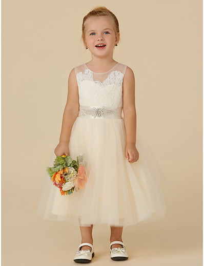 c9bdc50987f ADOR Princess Tea Length Flower Girl Dress - Lace   Tulle Sleeveless  Illusion Neck with Beading   Appliques   Sash   Ribbon