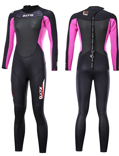 cheap Surfing, Diving & Snorkeling-Women's ZCCO 3mm Full Wetsuit Diving Suit SCR Neoprene Long Sleeve Back Zip - Patchwork Fashion Autumn / Fall Winter Spring / High Elasticity
