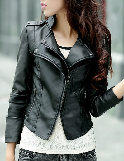 cheap Furs & Leathers-Women's Daily Short Leather Jacket, Solid Colored Stand Long Sleeve Polyester Black