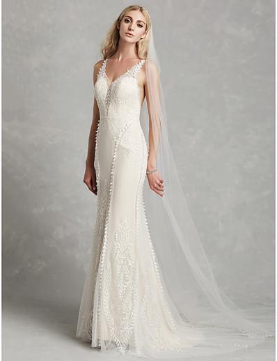 a946e8877 ADOR Mermaid / Trumpet V Neck Court Train Lace Wedding Dresses with  Appliques