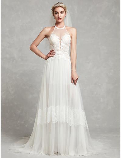 ec419e23b ADOR A-Line Halter Neck Court Train Lace / Tulle Wedding Dresses with Lace