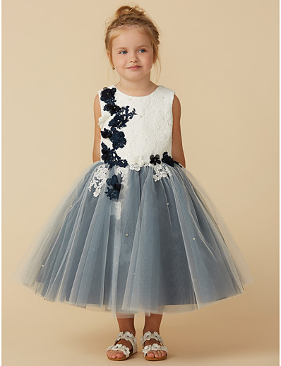 26cf19d7698 ADOR Princess Tea Length Flower Girl Dress - Lace   Tulle Sleeveless Jewel  Neck with Beading   Appliques   Flower