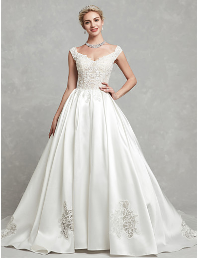 25f0246aa1d ADOR Ball Gown V Neck Chapel Train Lace   Satin Wedding Dresses with  Beading   Appliques