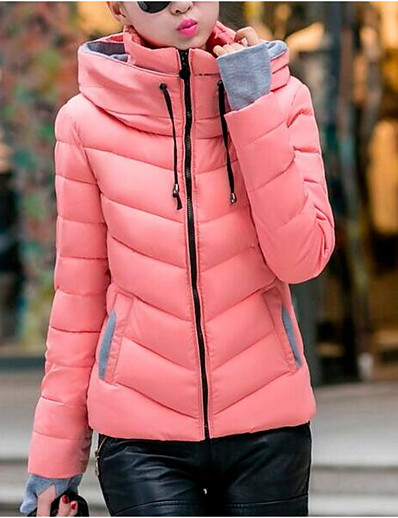 cheap Down& Parkas-Women's Daily Casual / Basic Solid Colored Short Padded, Cotton / Polyester Long Sleeve Winter Hooded Yellow / Fuchsia / Light Blue XL / XXL / XXXL