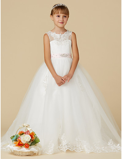 7e90d3fd980 ADOR Princess Sweep   Brush Train Flower Girl Dress - Lace   Tulle  Sleeveless Jewel Neck with Beading   Appliques   Belt