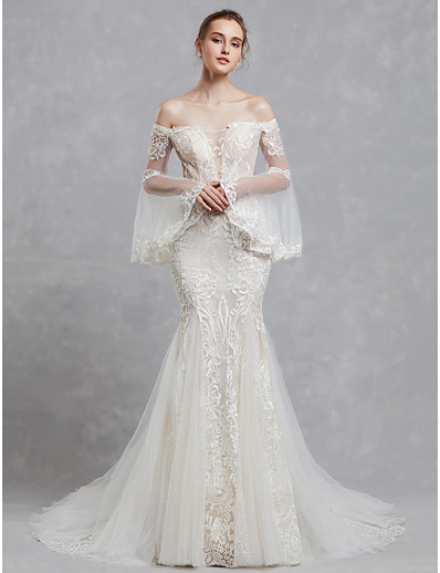 1d189f7d7785 ADOR Mermaid / Trumpet Off Shoulder Court Train Lace / Tulle Wedding Dresses  with Appliques