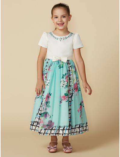 e06416f29cb ADOR Princess Tea Length Flower Girl Dress - Chiffon   Satin Short Sleeve Jewel  Neck with Pattern   Print   Sash   Ribbon