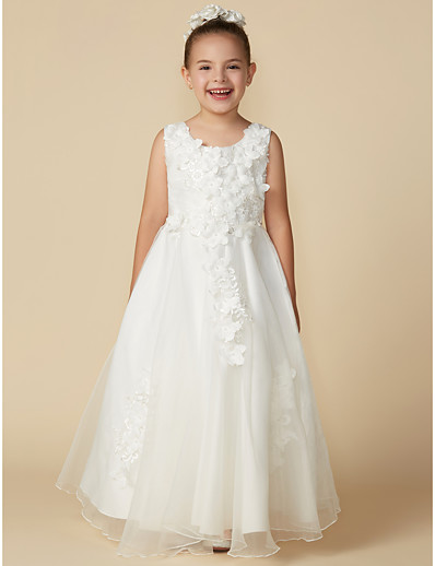8f17c73c5f9 ADOR A-Line Floor Length Flower Girl Dress - Organza   Satin Sleeveless  Jewel Neck with Lace   Pleats
