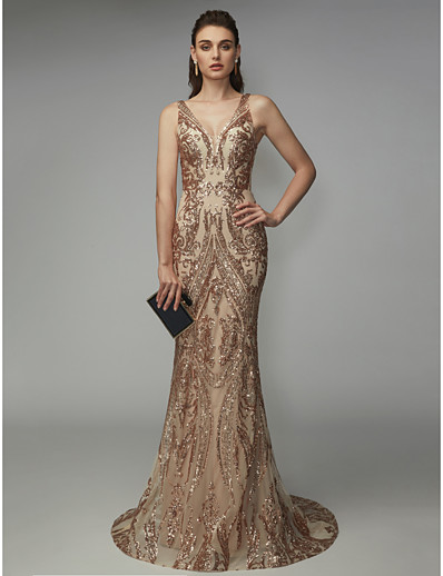 4a8c4d471517a ADOR Evening Dress Mermaid / Trumpet V Neck Sweep / Brush Train Sequined  Sparkle & Shine with Sequin