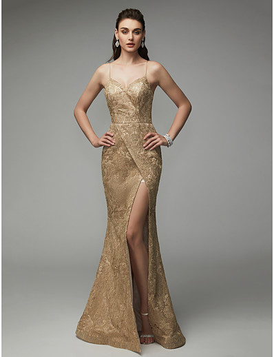 6bb27b622bd8a ADOR Evening Dress Mermaid / Trumpet Spaghetti Strap Floor Length Sequined  Sparkle & Shine with Sequin / Split Front